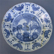 16th century Kraak dish made in southeast China, like the porcelains carried by Spanish galleons.